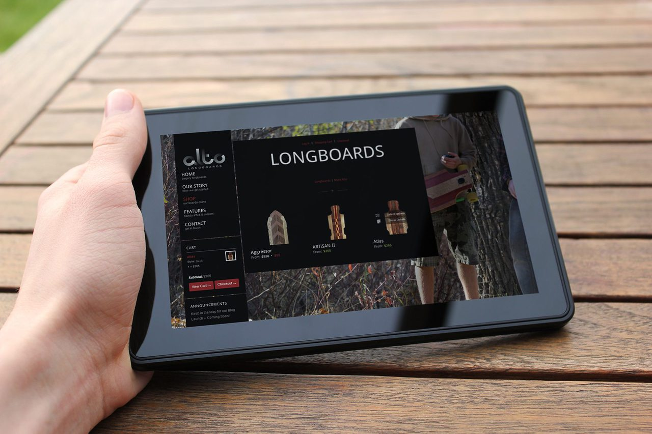 Alto Longboards Calgary Website Design